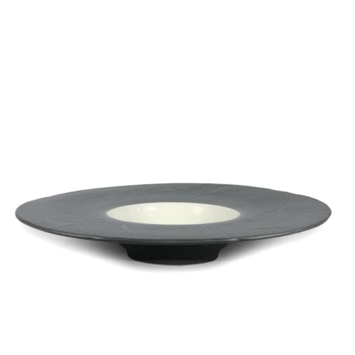 Foto Produk Artisan Ceramic | Black/White Crackle UFO Pasta Bowl | Mangkok Keramik dari Artisan Ceramic