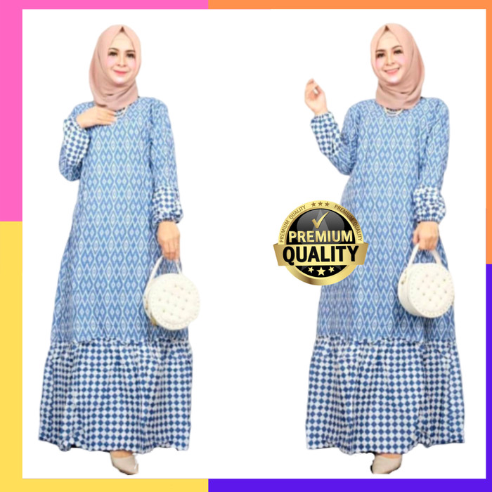Jual Gamis Batik Kombinasi Baju Muslimah Wanita Lokal Bahan Katun Murah Tenun All Size Kota Pekalongan Juniart Batik Tokopedia