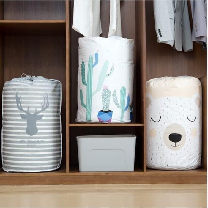 Foto Produk Storage Bag Cloth cotton quilt Bag Tempat Bedcover Pakaian tali serut dari Grosir Vacuum Bag