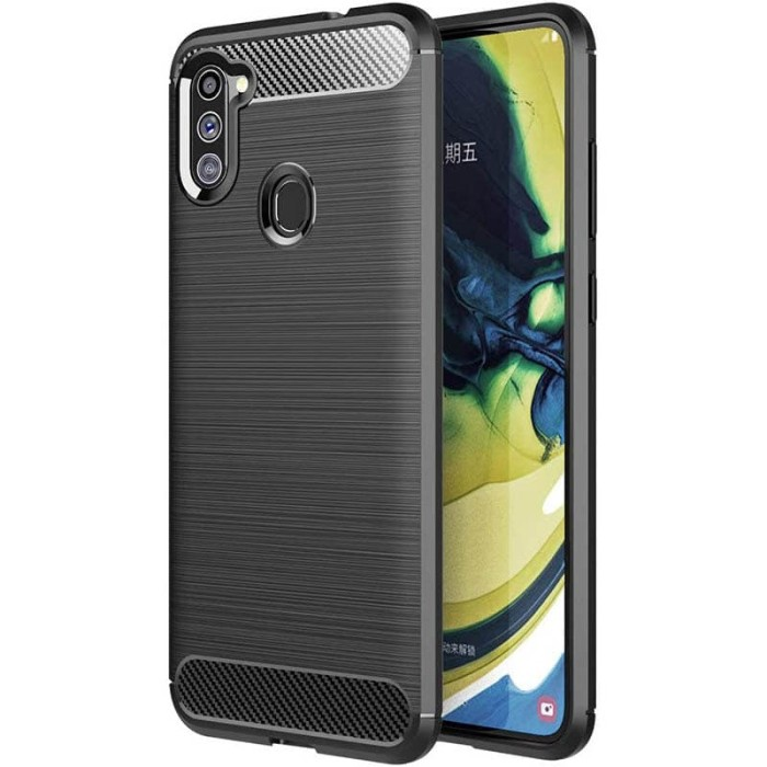 Foto Produk Armor Carbon TPU Case Samsung Galaxy M11 - Casing Black Soft Cover dari Logay Accessories