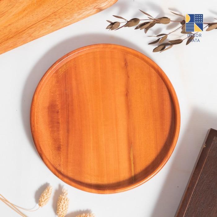 Foto Produk Round Tray / Nampan Kayu Bulat / Wooden Tray Diameter 20 cm dari Dekornata