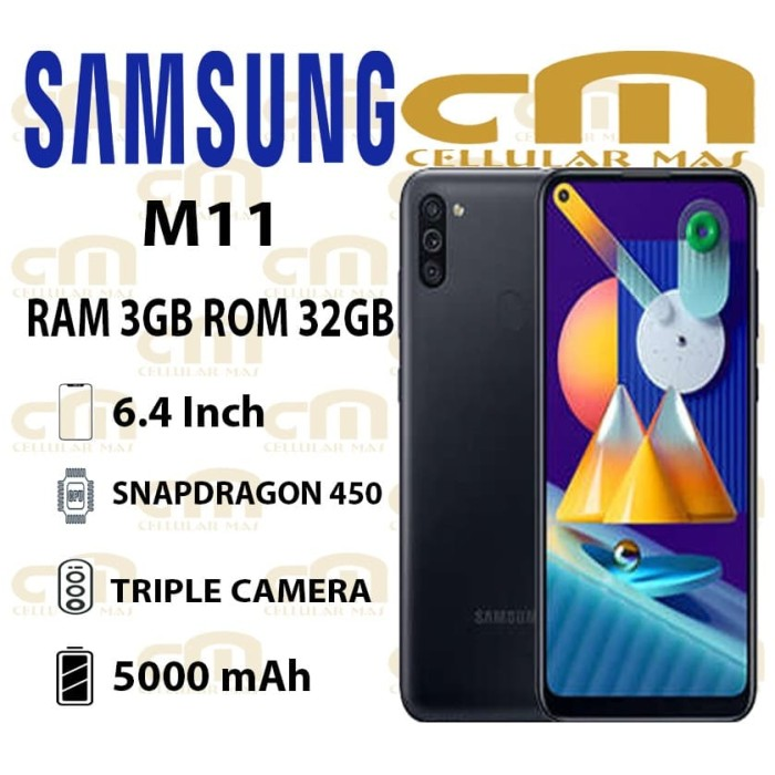 Foto Produk Samsung Galaxy M11 3/32 RAM 3GB ROM 32GB GARANSI RESMI SEIN - Hitam dari Cellular Mas