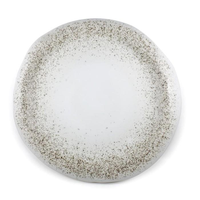 Foto Produk Artisan Ceramic | White with Spot Stone Dinner Plate| Piring Keramik dari Artisan Ceramic
