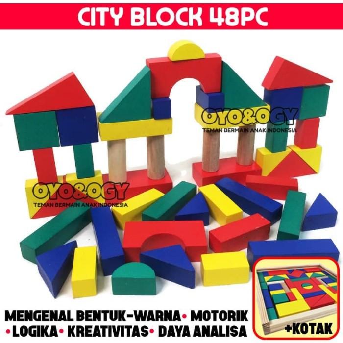 Foto Produk Mainan Edukasi Anak City Block Kayu Balok Warna Susun Blok Bangun Box dari oyo-ogy