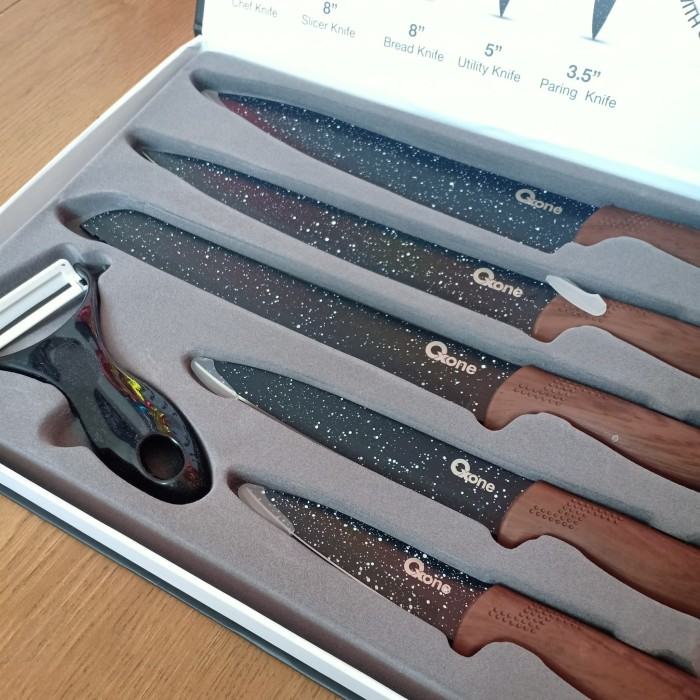 Jual PISAU OX 605 set Oxone OX-605 / black marble knife ...