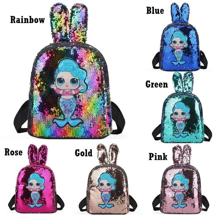 Foto Produk Backpack Sequin Tas Ransel Anak Model Bunny LOL Mermaid LED Impor G550 dari Gudang Distributor Murah