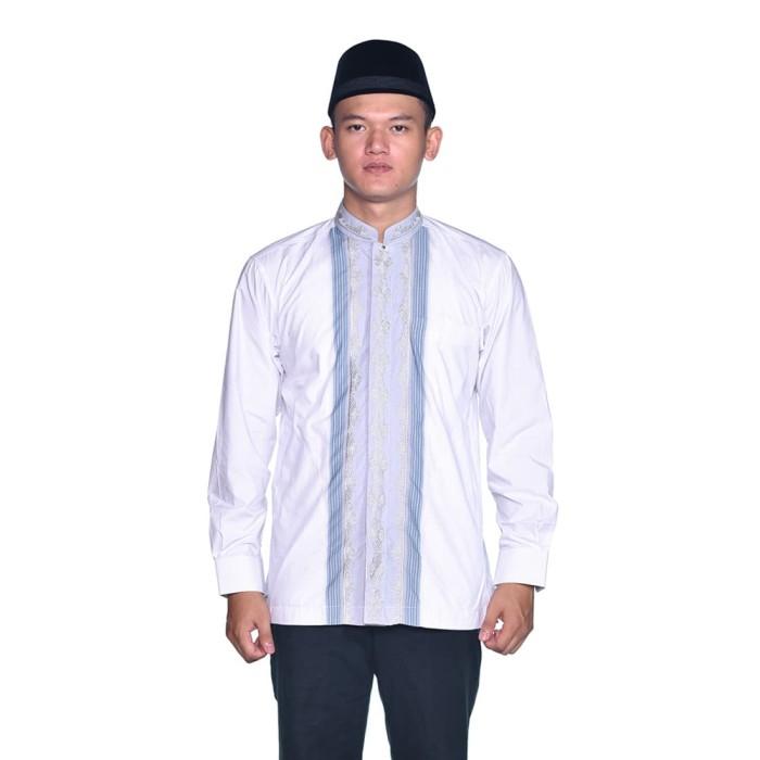 Foto Produk Baju Muslim BHS Classic Motif Triple Putih Biru - XL dari Sarung BHS Official