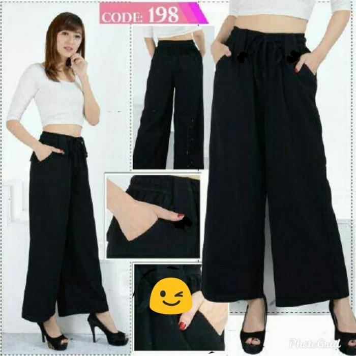 Foto Produk Celana kulot jeans wash khusus hitam (adem.lembut)small size fit s.m.L dari Winnie Collection