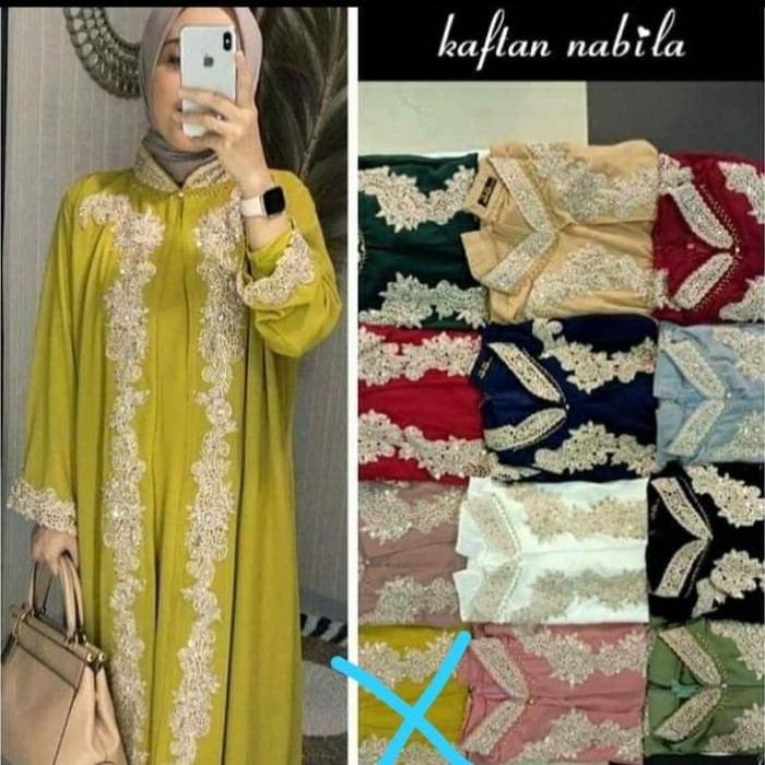 Foto Produk Kaftan Nabila cardi ceruty Swarovski bordir payet allsize fit m-xxL dari Winnie Collection