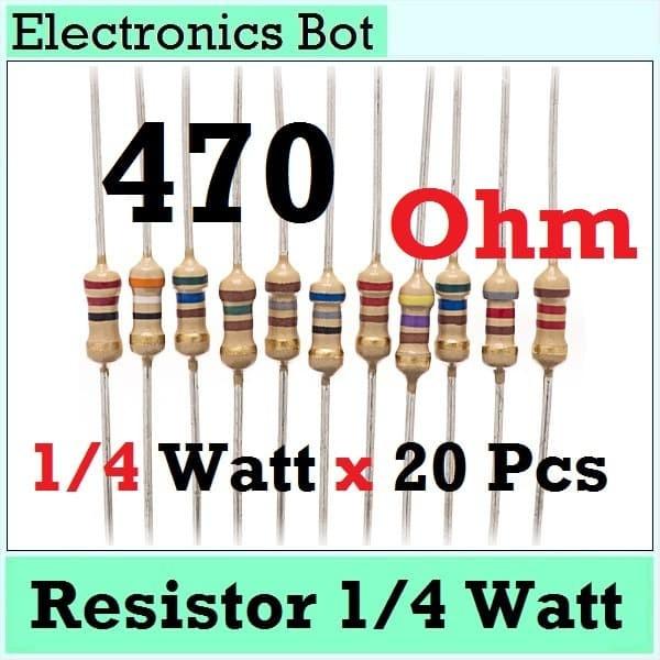 Foto Produk Resistor Tahanan 470 Ohm 1/4 Watt 0.25 Watt 470Ohm Penghambat Karbon dari Electronics Bot Store