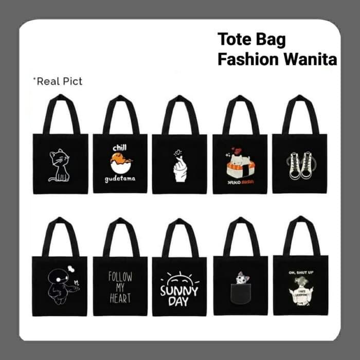 Foto Produk Tas Tote Bag Korea Kanvas Tas Selempang Wanita Tas Hand Bag 1 dari HenzAmel