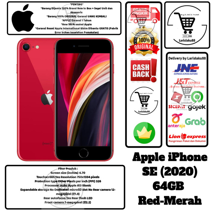 Foto Produk Apple IPhone SE 2020 64GB SE2020 64 GB SE 20 SE20 Resmi Inter Red dari larislaku88