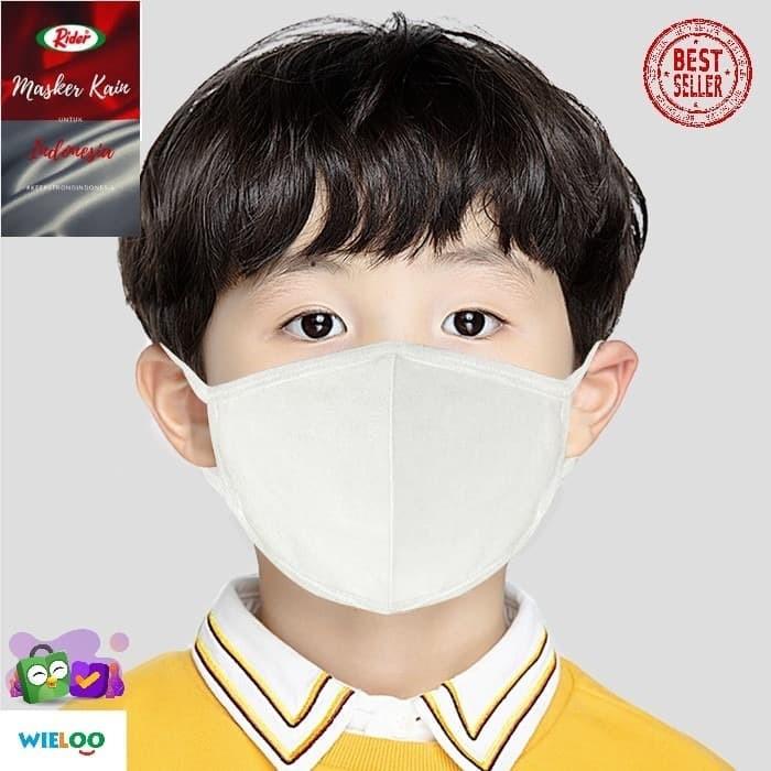 Foto Produk Masker Kain Anak Rider Anti Bakteri 2 ply (Earloop Putih) dari wieloo