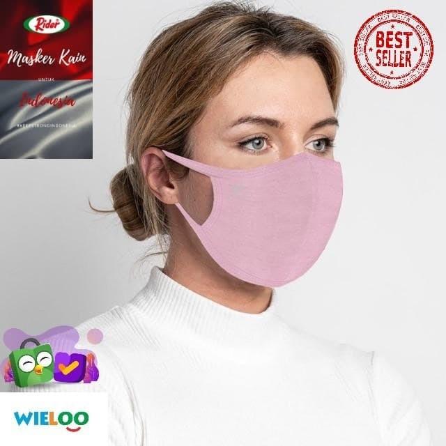 Foto Produk Masker Kain Rider Anti Bakteri 2ply (Merah Muda/Pink) dari wieloo