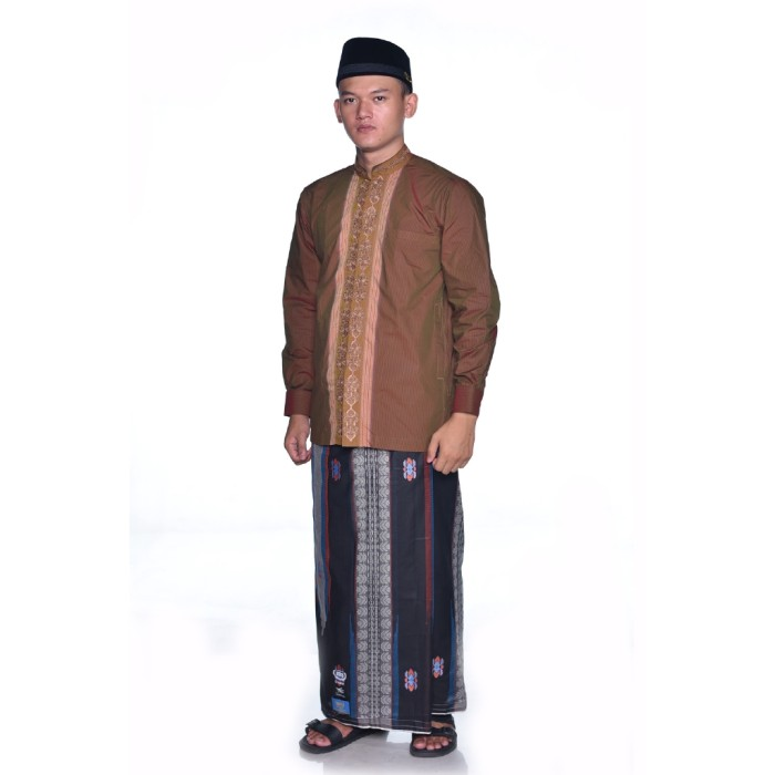 Foto Produk Sarung BHS Gold Classic motif Jacquard Gunung Legendaris Hitam Abu dari Sarung BHS Official