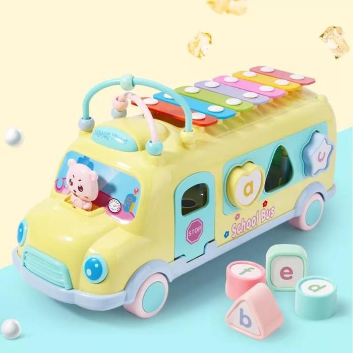 Foto Produk Mainan PUZZLE Anak dengan bentuk Mobil BUS disertai XYLOPHONE 3 in 1 - Kuning dari lovely kayy