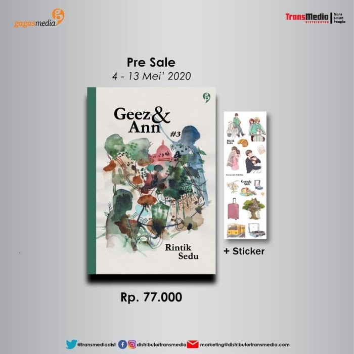 Foto Produk Novel - GEEZ & ANN #3 - Rintik Sedu - GagasMedia dari Toko Kutu Buku