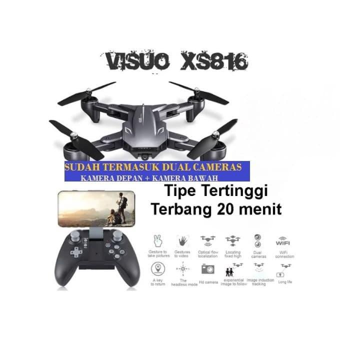 Foto Produk Visuo XS816 Dual 2 Camera Visuo Shark 20min Fly V-Sign Optical Flow - 2 battery dari Raja Abadi