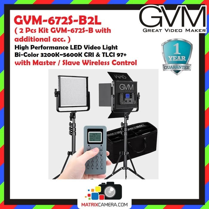 Foto Produk GVM-672S-B2L, 2 Pcs Kit Bi-Color LED Video Light with Master Control dari MatrixCamera
