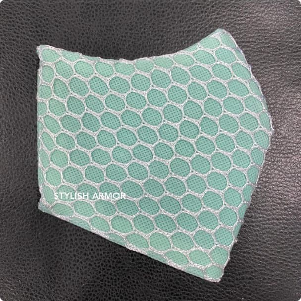 Foto Produk Masker Stylish Armor Silver Antimicrobial 3ply earloop net Green 12pcs - M dari STYLISH ARMOR