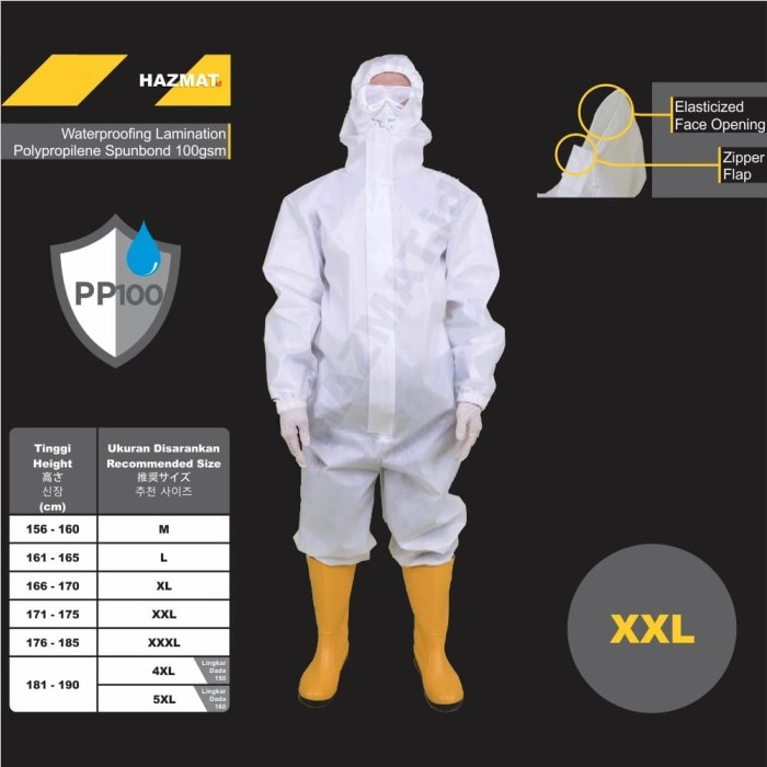 Foto Produk Baju APD Medis XXL 2XL HAZMAT .id Suit Coverall Spunbond 100gsm dari HAZMAT.ID