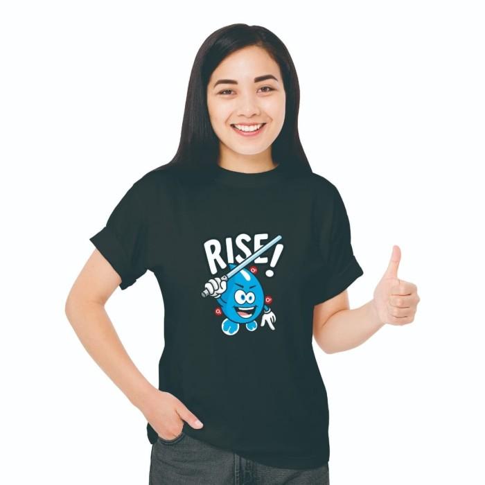 Foto Produk Baju Kaos Atasan T-Shirt Cewe Distro Fashion Wanita Black Edition Rise - XS dari Air Minum Biru
