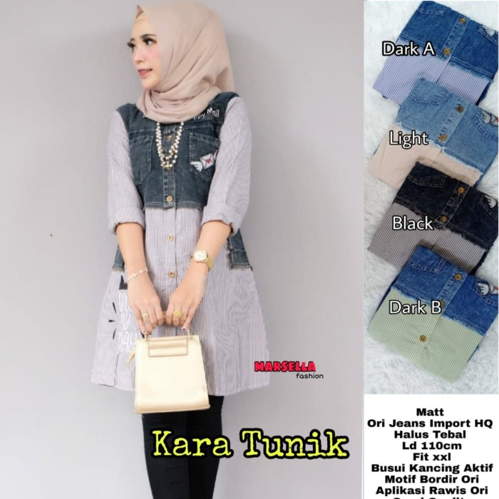 Foto Produk Baju Atasan Wanita Blouse Muslim Kara Tunik Marsella dari myfashion