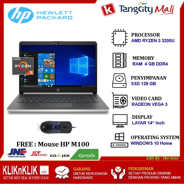 Jual Promo Laptop Notebook Gaming Hp 14 Silver Amd Ryzen 3 3200u Vega 3 Jakarta Barat Japan Jaya Tokopedia