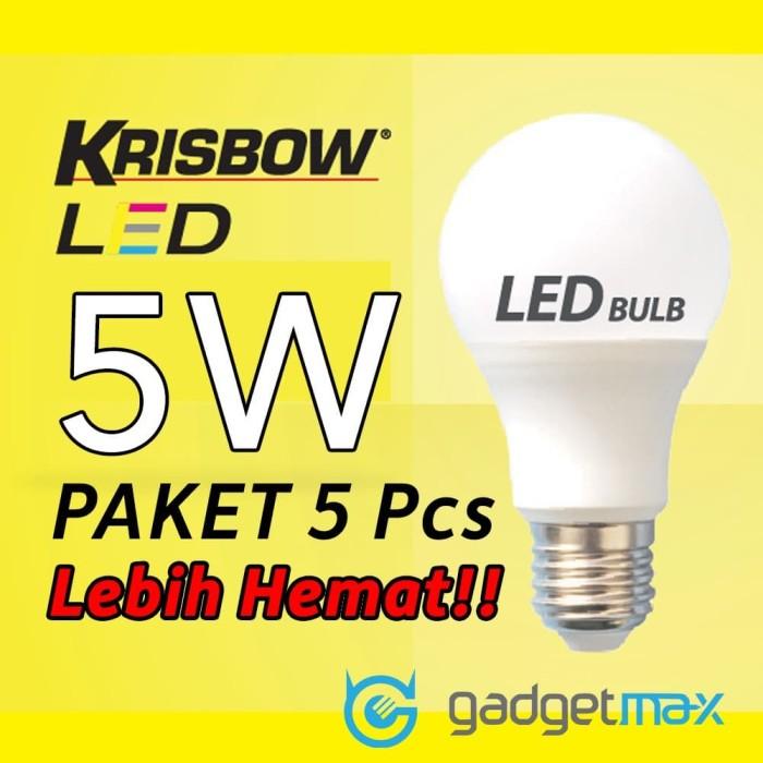 Foto Produk LED Bola Lampu Krisbow 5W Paket Hemat 5 Pcs dari Gadgetmax.net