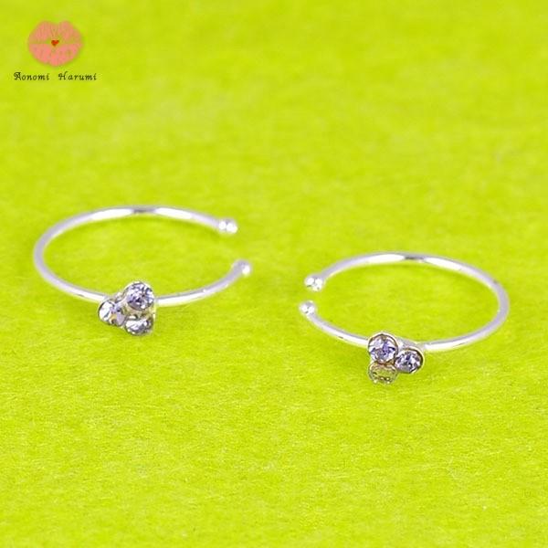 Jual Wig Thin 3 Crystal Silver Diamante Nose Ring Hoop Stud