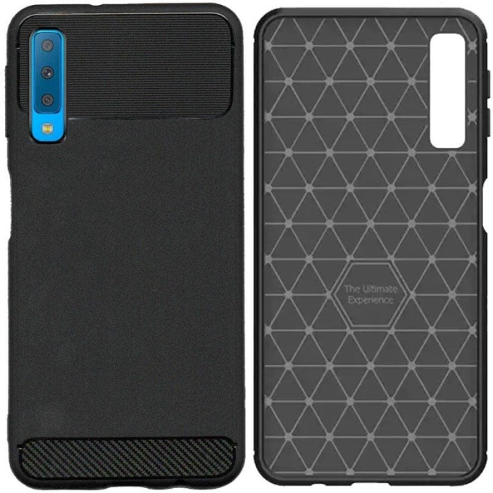 Foto Produk Armor Thin TPU Case Samsung Galaxy A7 (2018) - Casing Black Soft Cover dari Logay Accessories