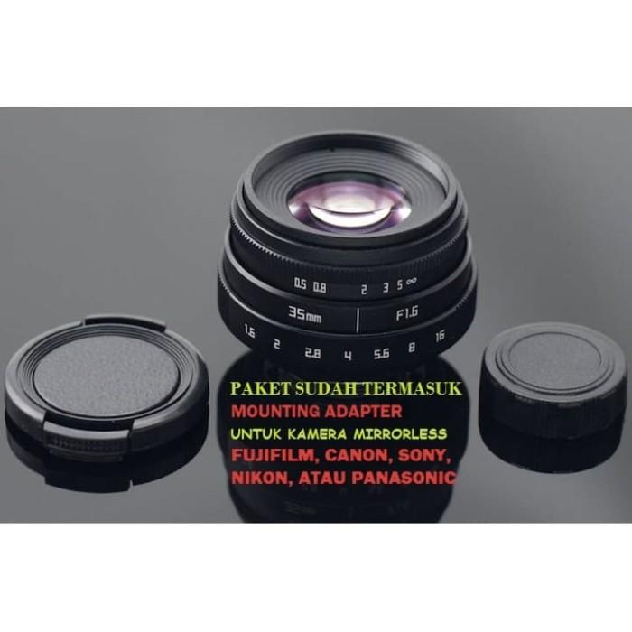 Foto Produk Lensa FIX Mirrorless Fujian 35mm f1.6 - Fuji,Sony,Canon mount adapter dari Raja Abadi