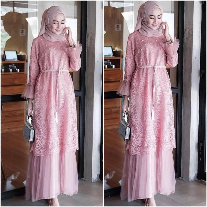 Foto Produk Dress Maxi Gamis Baju Muslim Variasi Brukat TM dari Nice Pomade