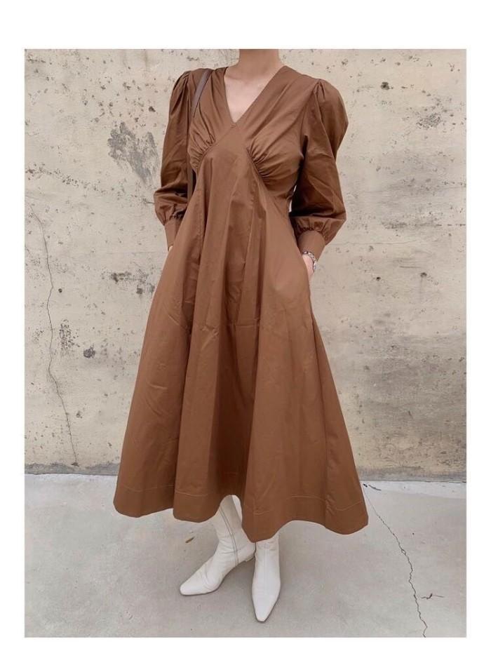 Foto Produk Gaun Pesta Long Dress Korea Coffee V Neck sz L Import dari Fashion-21