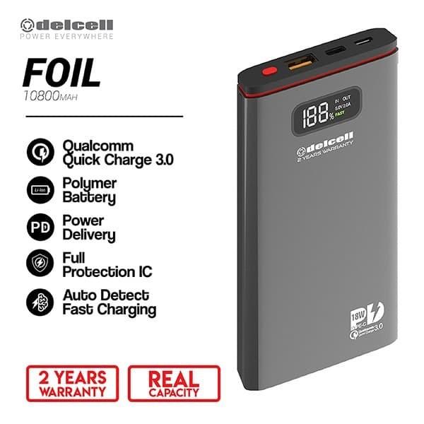 Foto Produk New Delcell FOIL Power Bank 10800mAh-Real Capacity Polymer Battre - Hitam dari DelCell