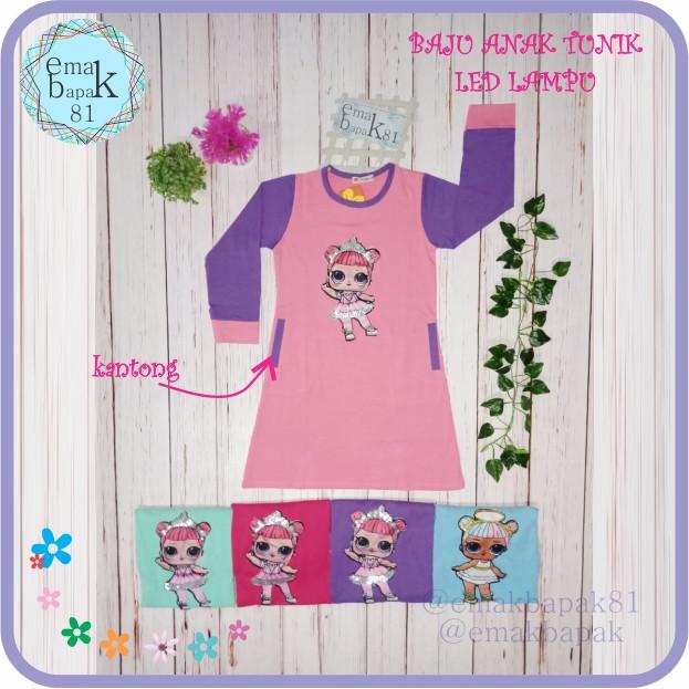 Foto Produk Baju Karakter Anak TUNIK Muslim lampu LED BISA DI CUCI - Merah Muda, 8-9thn No 18 dari emakbapak