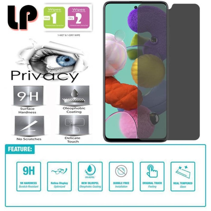 Foto Produk LP Anti-Spy Tempered Glass Samsung Galaxy A51 - Kaca Privacy Original dari Logay Accessories