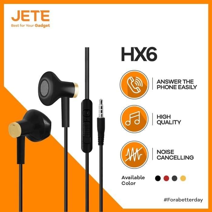 Foto Produk JETE Headset HX6 Earphone - Headphone - Handsfree Super Bass - Hitam dari JeteIndonesia