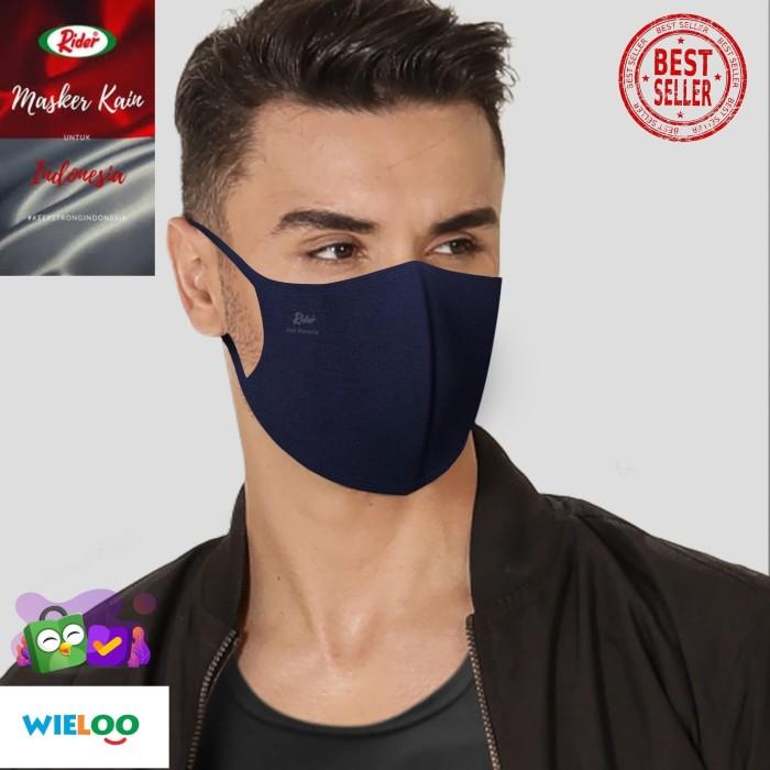 Foto Produk Masker Kain Rider Anti Bakteri 2 ply (Earloop Biru) dari wieloo