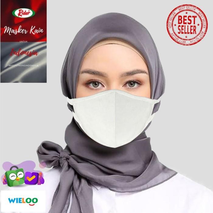 Foto Produk Masker Kain Hijab Rider Anti Bakteri 2 ply (Putih) dari wieloo