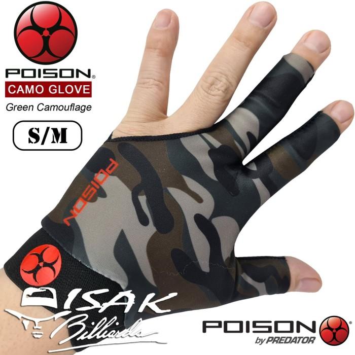 Foto Produk Poison Camo Glove Green S/M - Sarung Tangan Pool Billiard Gloves Lycra dari ISAK Billiard Sport Co.