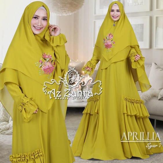 Jual Gamis Syar I Rampel Aprillia By Azzahra Dress Apr0035 Kuning L Kota Surabaya Thewomanshop Tokopedia