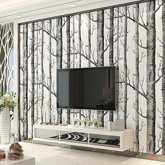 Jual Wallpaper Desain Pohon Birch Gaya Modern Untuk Kamar Tidur Ruang Jakarta Selatan Hoirith Tokopedia