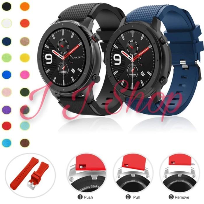 Foto Produk Strap Silikon Watch Band Xiaomi Amazfit GTR 47mm Tali Jam Tangan dari Logam Mulia Termurah