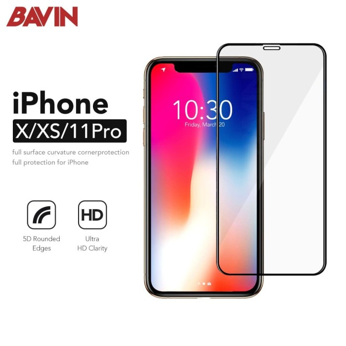 Foto Produk Tempered Glass 5D iPhone X XS Fullcover premium Glass Full Screen - Hitam dari Bavin Aksesoris