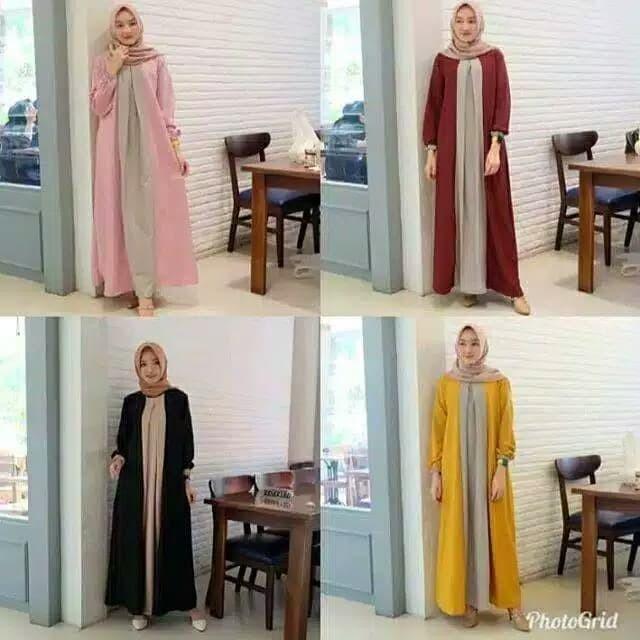 Foto Produk Outfit NEMA | Maxy Basic terlaris RA | Baju wanita Gamis termurah - Hitam dari Neema Fashion