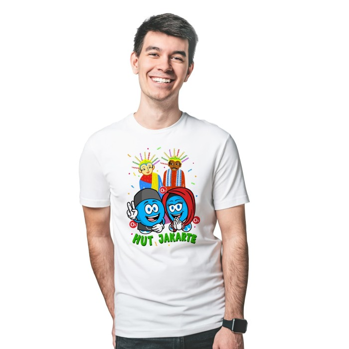 Foto Produk Baju Kaos Atasan T-Shirt Cowok Distro Fashion Pria HUT Jakarte - Putih, XS dari Air Minum Biru