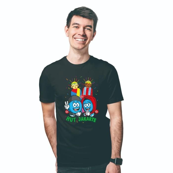Foto Produk Baju Kaos Atasan T-Shirt Cowok Distro Fashion Pria HUT Jakarte - Hitam - Putih, XS dari Air Minum Biru