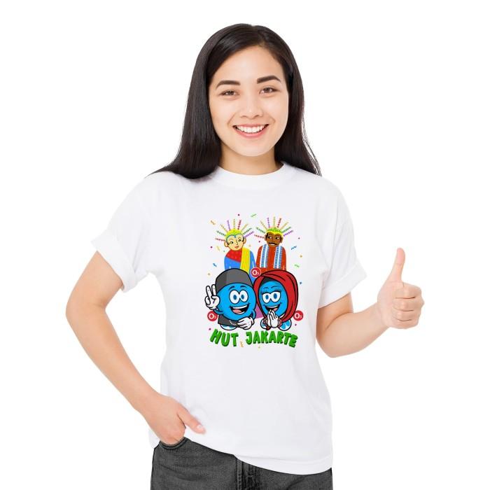 Foto Produk Baju Kaos Atasan T-Shirt Cewek Distro Fashion Wanita HUT Jakarte - Putih, XS dari Air Minum Biru