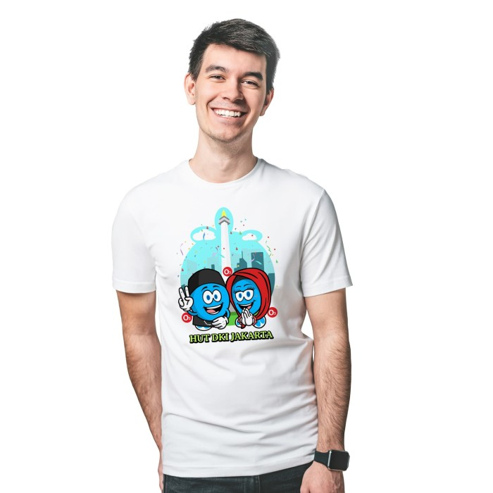 Foto Produk Baju Kaos Atasan T-Shirt Cowok Distro Fashion Pria HUT DKI - Putih, XS dari Air Minum Biru